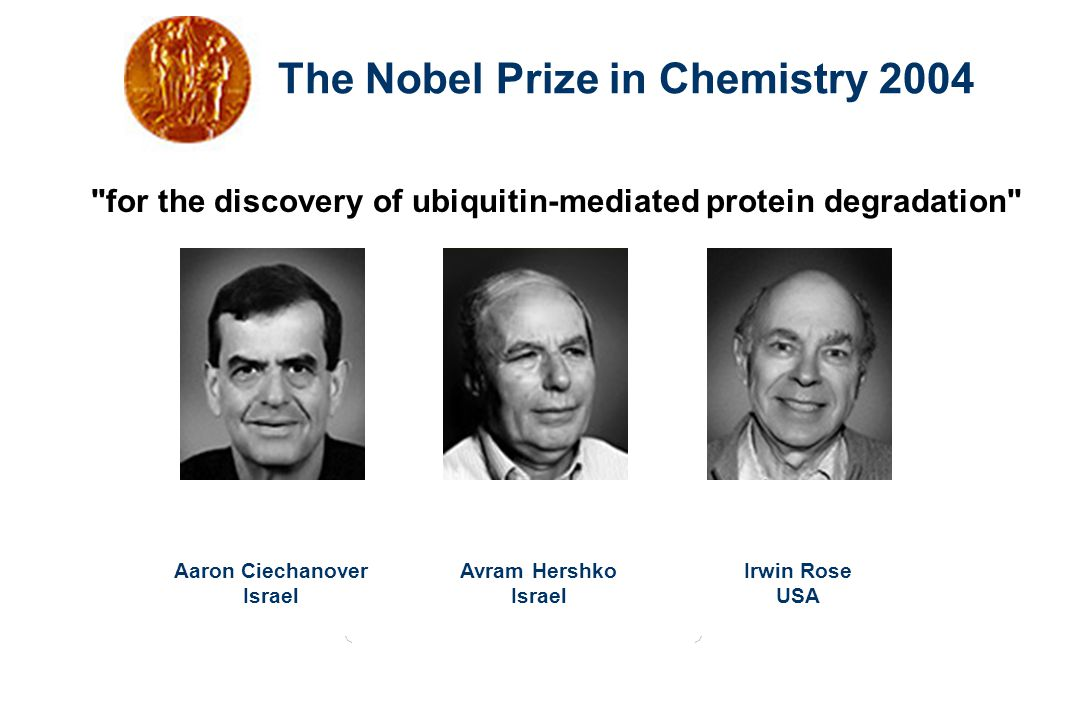 The Nobel Prize in Chemistry 2004 for the discovery of ubiquitin-mediated protein degradation Aaron Ciechanover Israel Avram Hershko Israel Irwin Rose USA