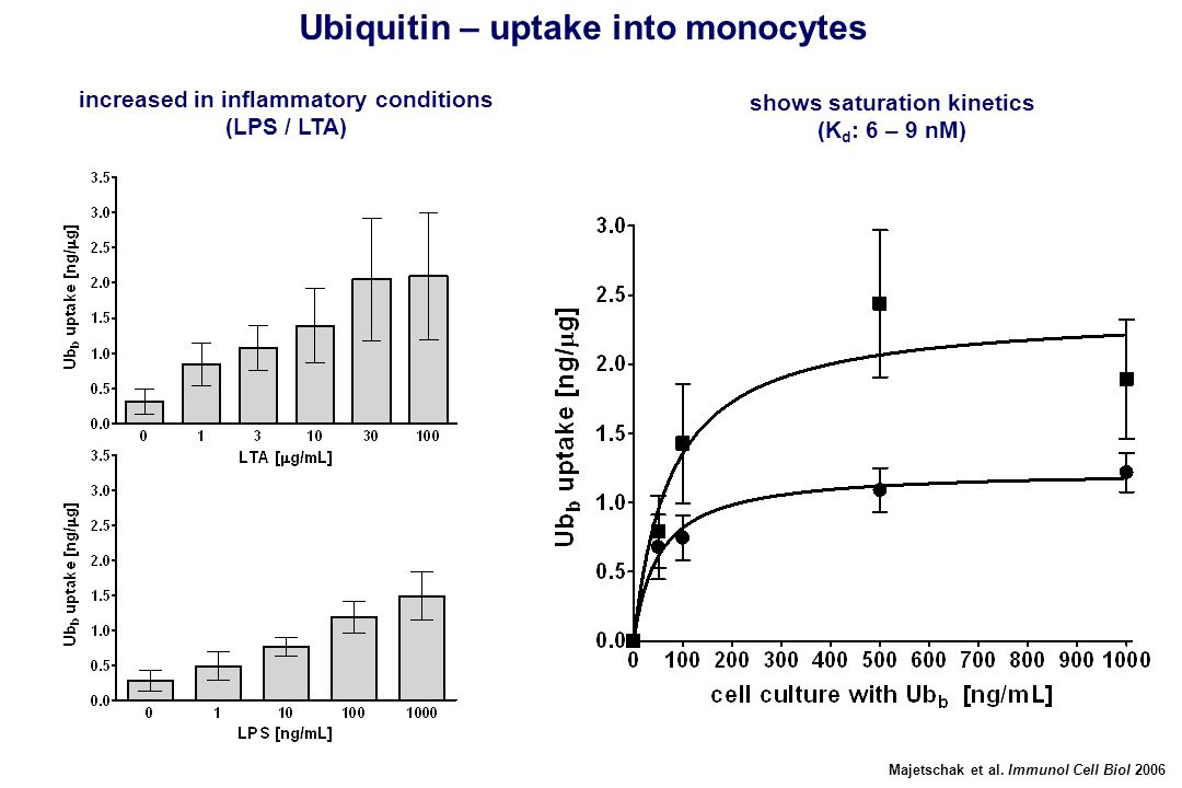 Majetschak et al. Immunol Cell Biol 2006 Ubiquitin – uptake into monocytes increased in inflammatory conditions (LPS / LTA) shows saturation kinetics