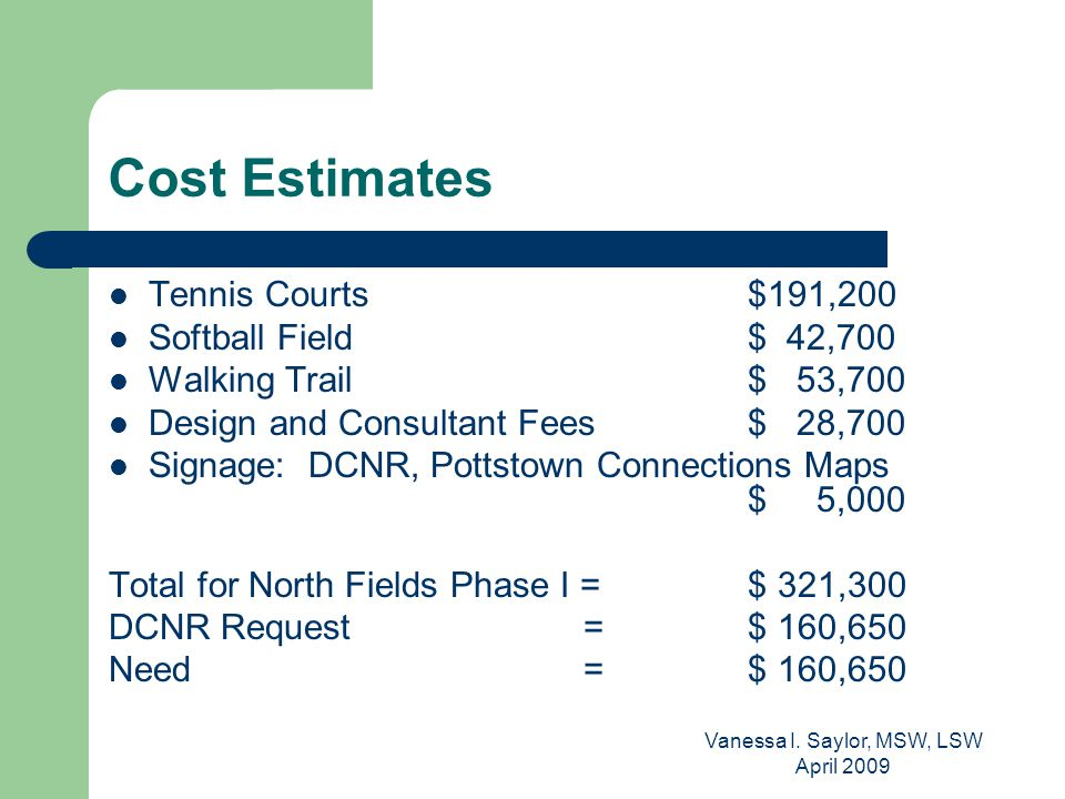 Vanessa I. Saylor, MSW, LSW April 2009 Cost Estimates Tennis Courts $191,200 Softball Field $ 42,700 Walking Trail $ 53,700 Design and Consultant Fees