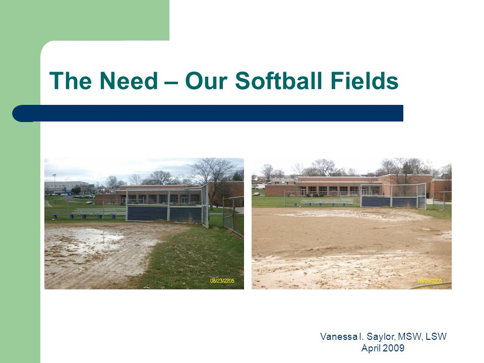 Vanessa I. Saylor, MSW, LSW April 2009 The Need – Our Softball Fields