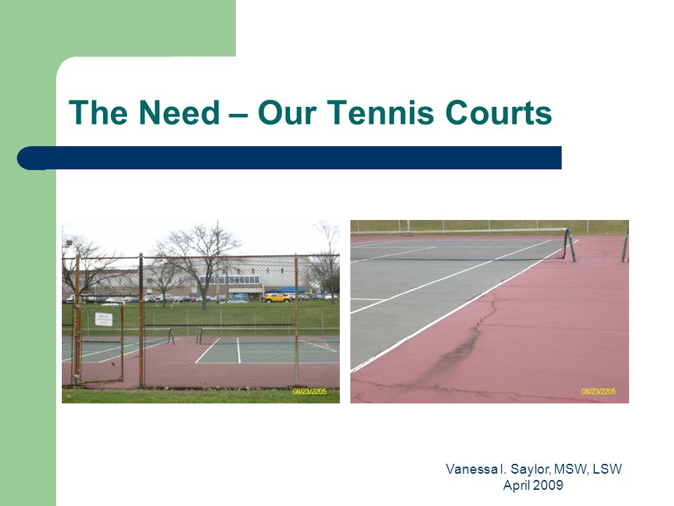 Vanessa I. Saylor, MSW, LSW April 2009 The Need – Our Tennis Courts