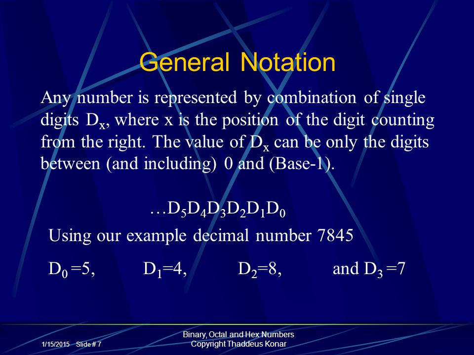 1/15/2015 Slide # 7 Binary, Octal and Hex Numbers Copyright Thaddeus Konar General Notation Any number is represented by combination of single digits