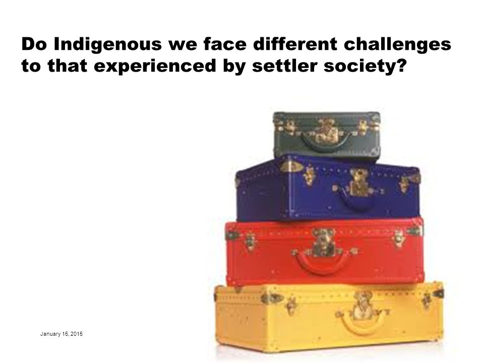 Do Indigenous we face different challenges to that experienced by settler society.