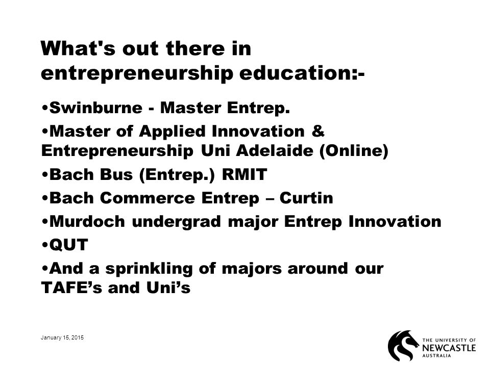 What s out there in entrepreneurship education:- Swinburne - Master Entrep.