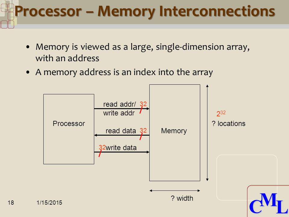 CML CML Accessing Memory MIPS has two basic data transfer instructions for accessing memory lw$t0, 4($s3) #load word from memory sw$t0, 8($s3) #store word to memory (assume $s3 holds 24 10 ) The data transfer instruction must specify –Memory address where in memory to read from (load) or write to (store) –Register destination (source) where in the register file to write to (load) or read from (store) The memory address is formed by –summing the constant portion of the instruction and the contents of the second register 1/15/201517 28 32