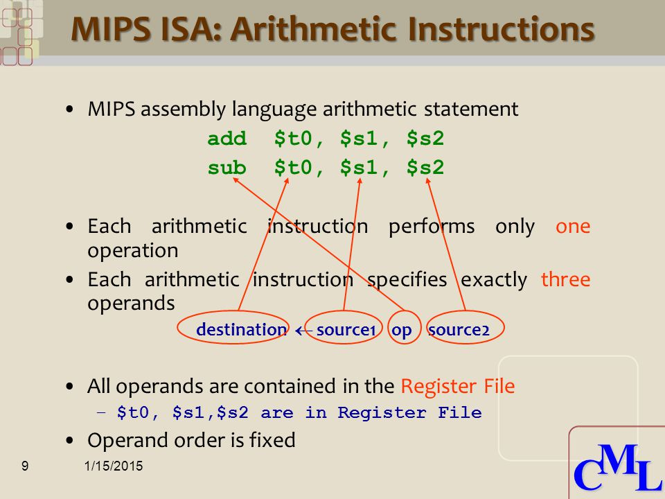 CML CML RISC Vs. CISC MIPS ISA is a RISC ISA RISC – Reduced Instruction Set Computer CISC – Complex Instruction Set Computer Many differences –Will le