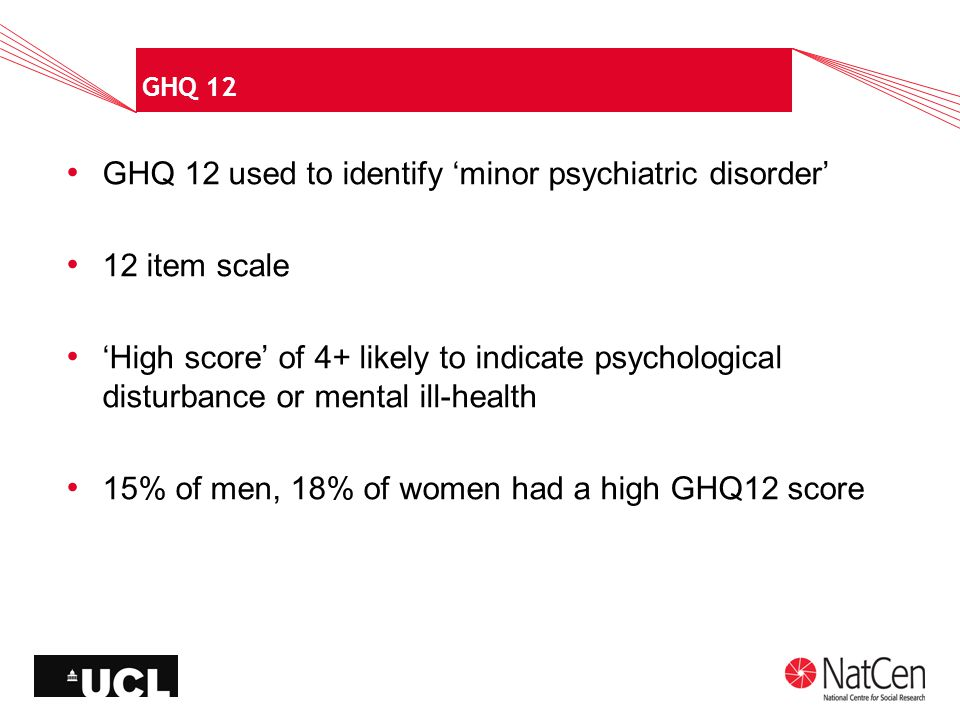 GHQ 12 GHQ 12 used to identify 'minor psychiatric disorder' 12 item scale 'High score' of 4+ likely to indicate psychological disturbance or mental ill-health 15% of men, 18% of women had a high GHQ12 score