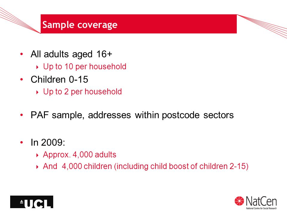 Sample coverage All adults aged 16+  Up to 10 per household Children 0-15  Up to 2 per household PAF sample, addresses within postcode sectors In 2009:  Approx.