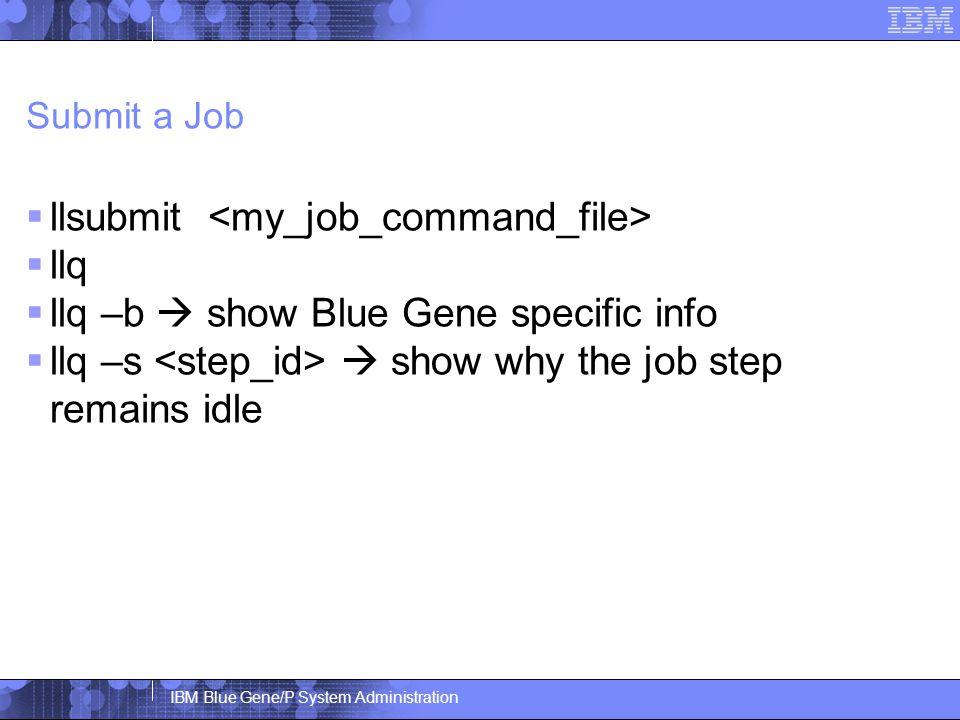IBM Blue Gene/P System Administration Submit a Job  llsubmit  llq  llq –b  show Blue Gene specific info  llq –s  show why the job step remains idle
