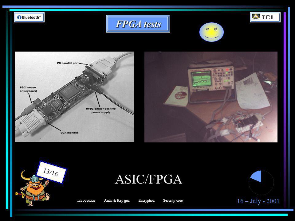 16 – July - 2001 13/16 ASIC/FPGA FPGA tests IntroductionAuth. & Key gen.EncryptionSecurity core