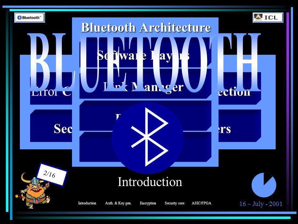 16 – July - 2001 3/16 Authentication & Key Generation Design Goals E 1, E 21, E 22 and E 3 algorithms implementation IntroductionEncryptionSecurity coreASIC/FPGA