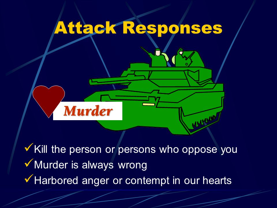 Attack Responses Kill the person or persons who oppose you Murder is always wrong Harbored anger or contempt in our hearts Murder