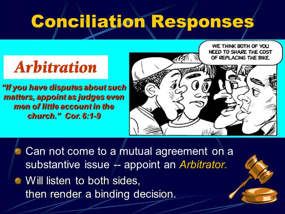 Arbitration Conciliation Responses Arbitrator.