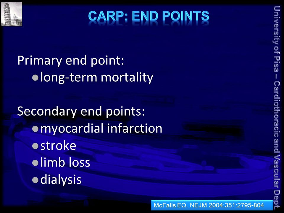 Primary end point: long-term mortality long-term mortality Secondary end points: myocardial infarction myocardial infarction stroke stroke limb loss limb loss dialysis dialysis McFalls EO.