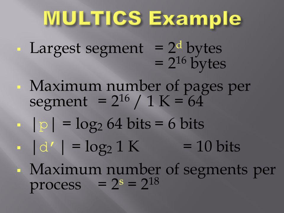  Largest segment= 2 d bytes = 2 16 bytes  Maximum number of pages per segment= 2 16 / 1 K = 64    p   = log 2 64 bits= 6 bits    d'   = log 2 1 K=