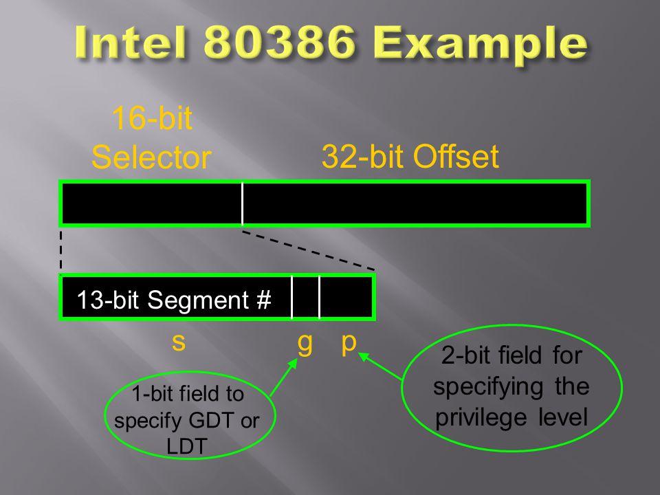 13-bit Segment # 16-bit Selector gp 32-bit Offset s 2-bit field for specifying the privilege level 1-bit field to specify GDT or LDT