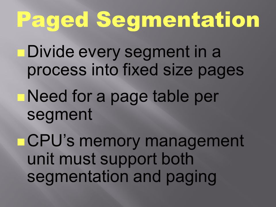Paged Segmentation 1 3 2 4 logical memory 5 physical memory