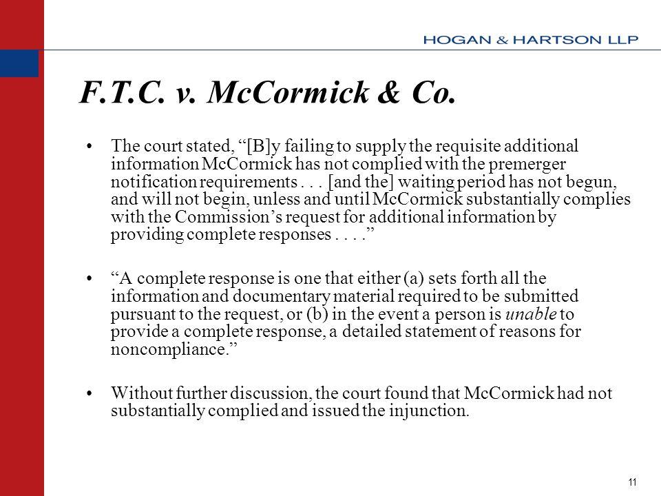11 F.T.C.v. McCormick & Co.