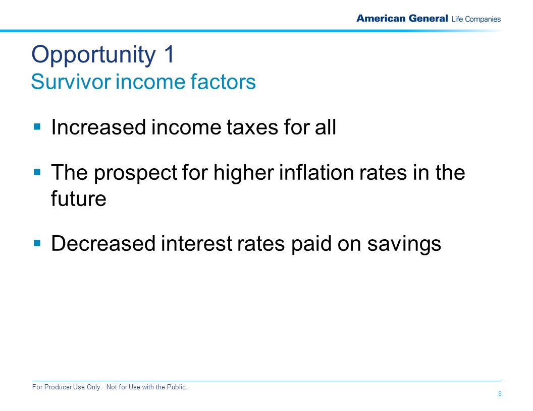 8 For Producer Use Only. Not for Use with the Public. Opportunity 1 Survivor income factors  Increased income taxes for all  The prospect for higher