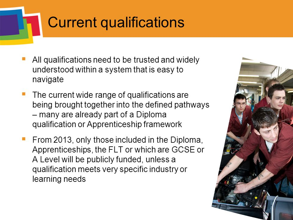 Current qualifications  All qualifications need to be trusted and widely understood within a system that is easy to navigate  The current wide range of qualifications are being brought together into the defined pathways – many are already part of a Diploma qualification or Apprenticeship framework  From 2013, only those included in the Diploma, Apprenticeships, the FLT or which are GCSE or A Level will be publicly funded, unless a qualification meets very specific industry or learning needs
