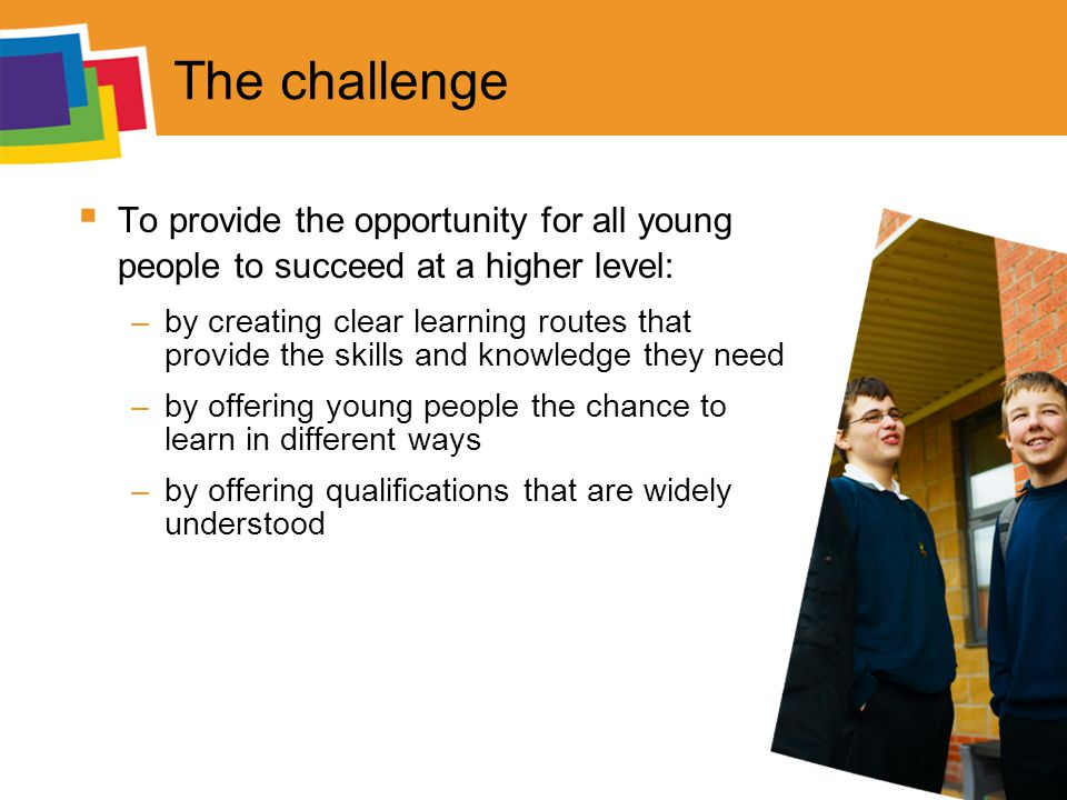 The challenge  To provide the opportunity for all young people to succeed at a higher level: –by creating clear learning routes that provide the skills and knowledge they need –by offering young people the chance to learn in different ways –by offering qualifications that are widely understood