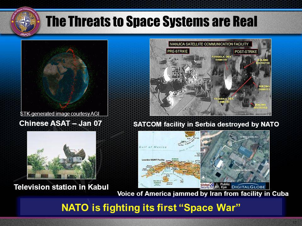 17 The Threats to Space Systems are Real SATCOM facility in Serbia destroyed by NATO Chinese ASAT – Jan 07 Television station in Kabul Voice of America jammed by Iran from facility in Cuba STK-generated image courtesy AGI NATO is fighting its first Space War