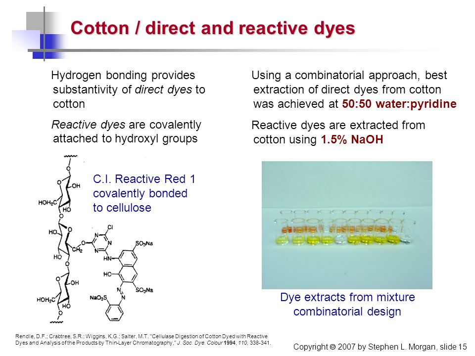 Copyright  2007 by Stephen L. Morgan, slide 15 Hydrogen bonding provides substantivity of direct dyes to cotton Reactive dyes are covalently attached