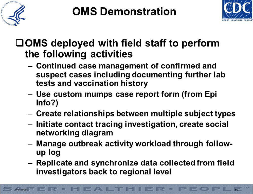 7/31/200813 OMS Demonstration  OMS deployed with field staff to perform the following activities –Continued case management of confirmed and suspect cases including documenting further lab tests and vaccination history –Use custom mumps case report form (from Epi Info ) –Create relationships between multiple subject types –Initiate contact tracing investigation, create social networking diagram –Manage outbreak activity workload through follow- up log –Replicate and synchronize data collected from field investigators back to regional level