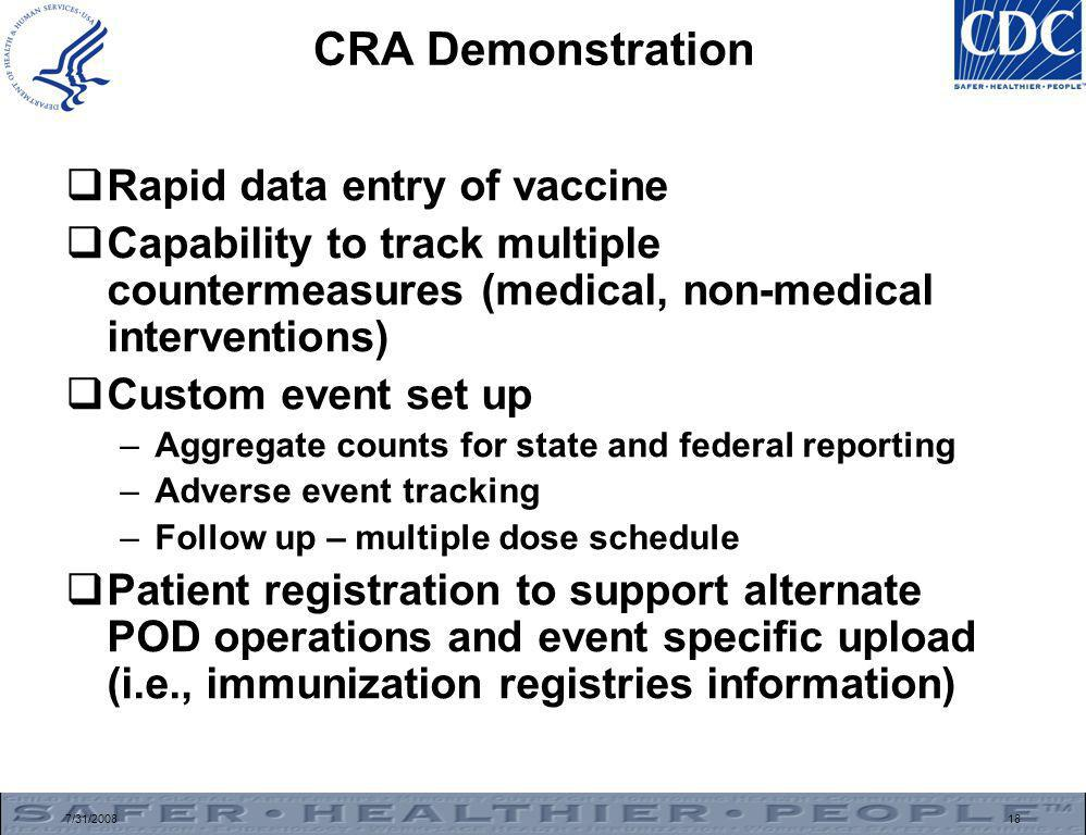 7/31/200818 CRA Demonstration  Rapid data entry of vaccine  Capability to track multiple countermeasures (medical, non-medical interventions)  Custom event set up –Aggregate counts for state and federal reporting –Adverse event tracking –Follow up – multiple dose schedule  Patient registration to support alternate POD operations and event specific upload (i.e., immunization registries information)