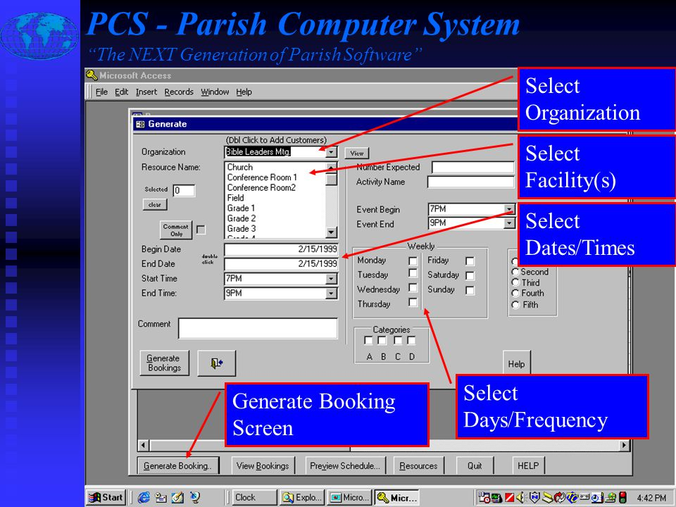 Slide #5 of 16 / {ESC} Return to Main Menu / F1 Help Detailed Event Information PCS - Parish Computer System The NEXT Generation of Parish Software