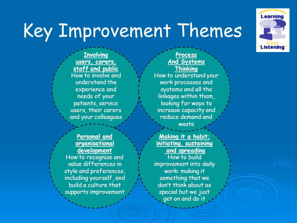 Key Improvement Themes Personal and organisational development How to recognise and value differences in style and preferences, including yourself, an