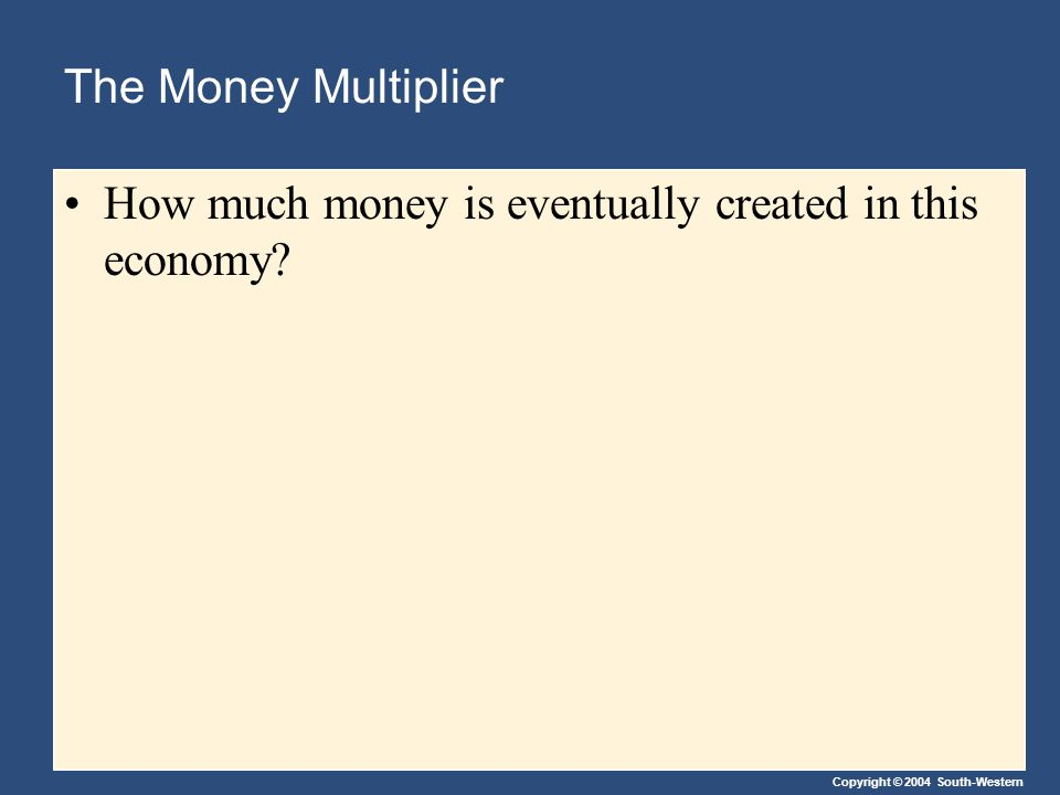 Copyright © 2004 South-Western The Money Multiplier How much money is eventually created in this economy?