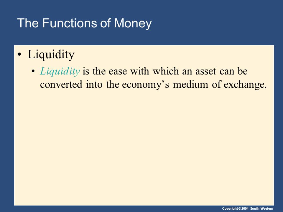 Copyright © 2004 South-Western The Kinds of Money Commodity money takes the form of a commodity with intrinsic value.