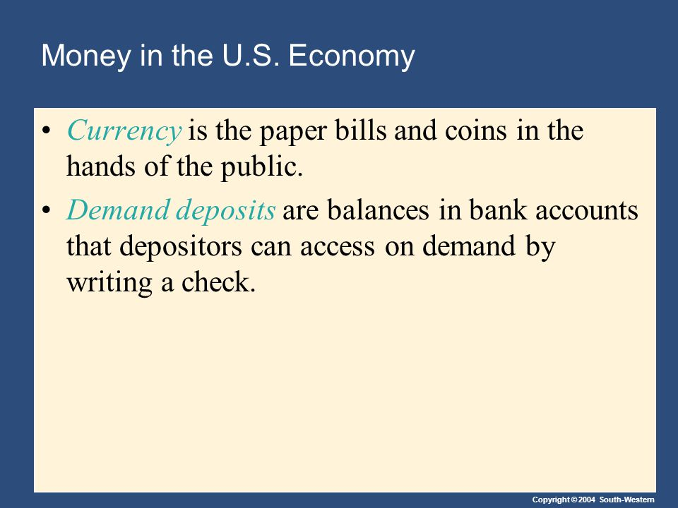 Copyright © 2004 South-Western The Fed's Tools of Monetary Control Changing the Reserve Requirement The reserve requirement is the amount (%) of a bank's total reserves that may not be loaned out.
