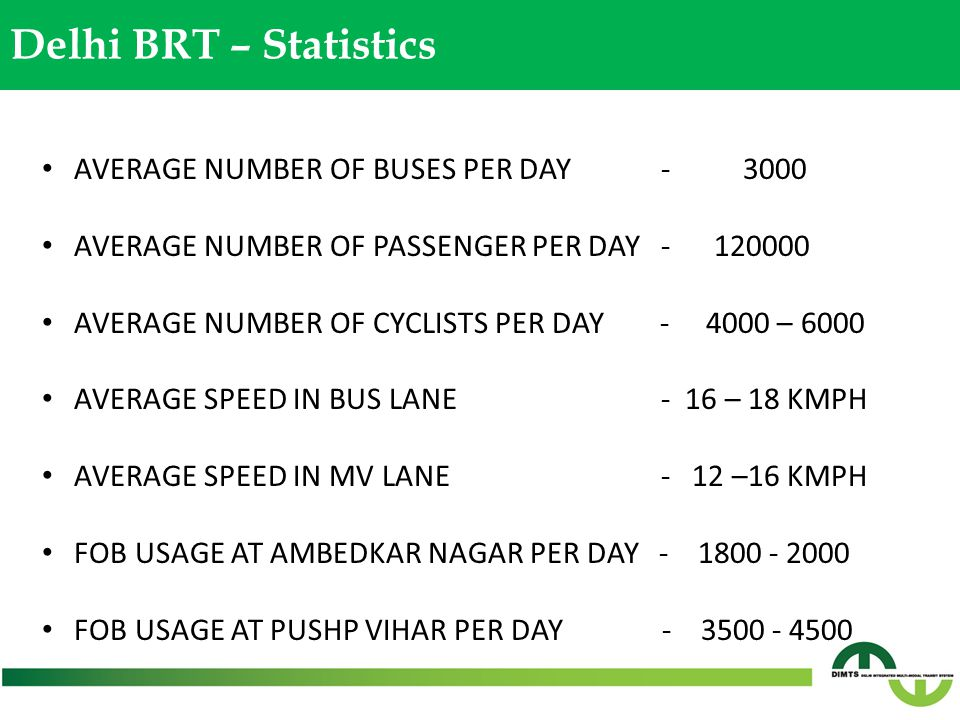 Delhi BRT – Statistics AVERAGE NUMBER OF BUSES PER DAY - 3000 AVERAGE NUMBER OF PASSENGER PER DAY - 120000 AVERAGE NUMBER OF CYCLISTS PER DAY - 4000 –