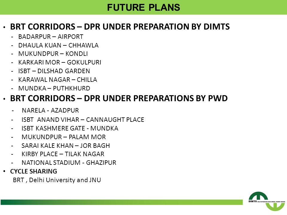 BRT CORRIDORS – DPR UNDER PREPARATION BY DIMTS - BADARPUR – AIRPORT - DHAULA KUAN – CHHAWLA - MUKUNDPUR – KONDLI - KARKARI MOR – GOKULPURI - ISBT – DILSHAD GARDEN - KARAWAL NAGAR – CHILLA - MUNDKA – PUTHKHURD BRT CORRIDORS – DPR UNDER PREPARATIONS BY PWD - NARELA - AZADPUR - ISBT ANAND VIHAR – CANNAUGHT PLACE - ISBT KASHMERE GATE - MUNDKA - MUKUNDPUR – PALAM MOR - SARAI KALE KHAN – JOR BAGH - KIRBY PLACE – TILAK NAGAR - NATIONAL STADIUM - GHAZIPUR CYCLE SHARING BRT, Delhi University and JNU
