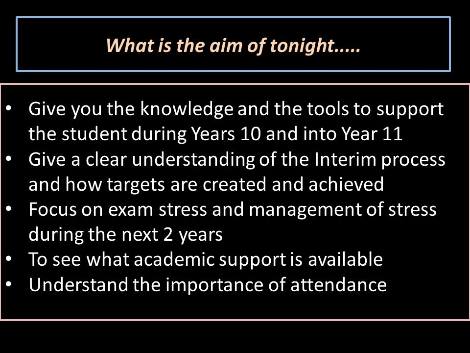 What is the aim of tonight.....