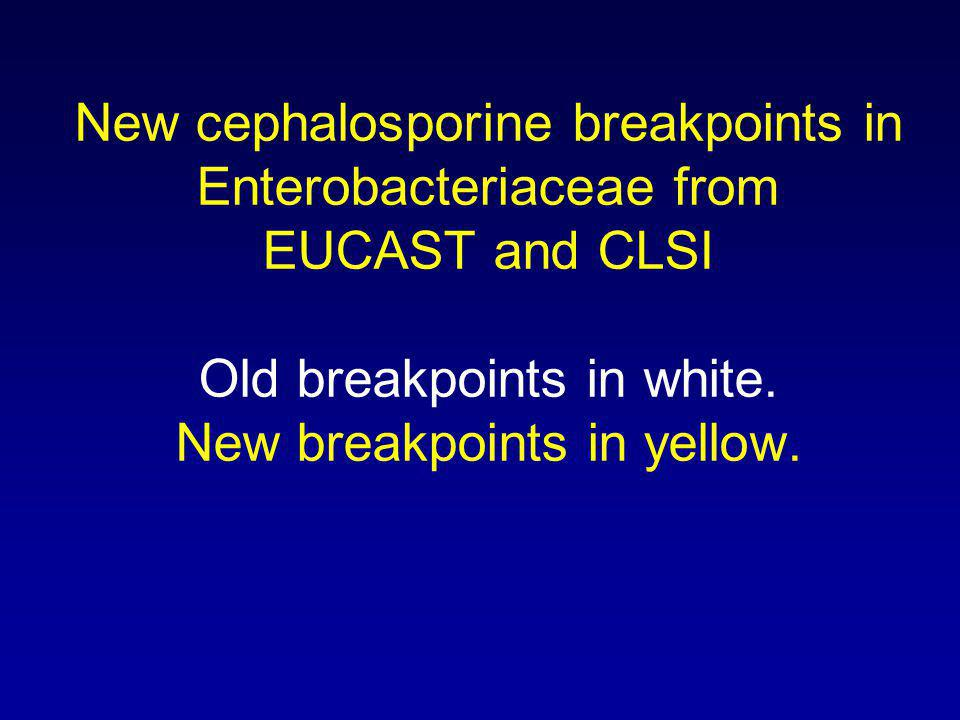 New cephalosporine breakpoints in Enterobacteriaceae from EUCAST and CLSI Old breakpoints in white.