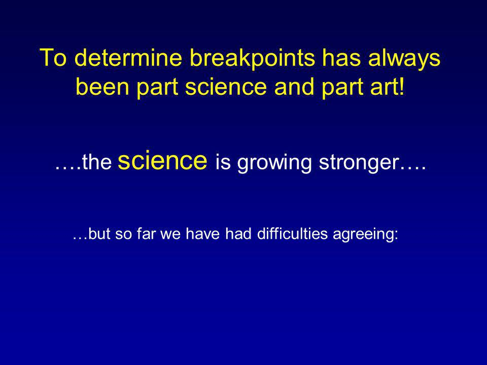 To determine breakpoints has always been part science and part art! ….the science is growing stronger…. …but so far we have had difficulties agreeing: