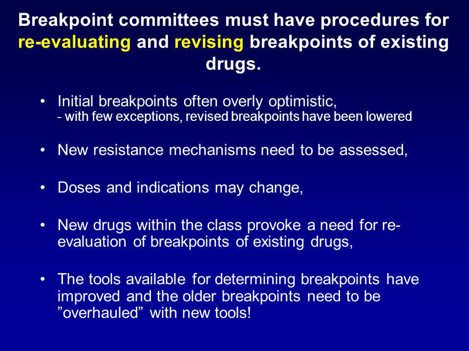 Breakpoint committees must have procedures for re-evaluating and revising breakpoints of existing drugs. Initial breakpoints often overly optimistic,