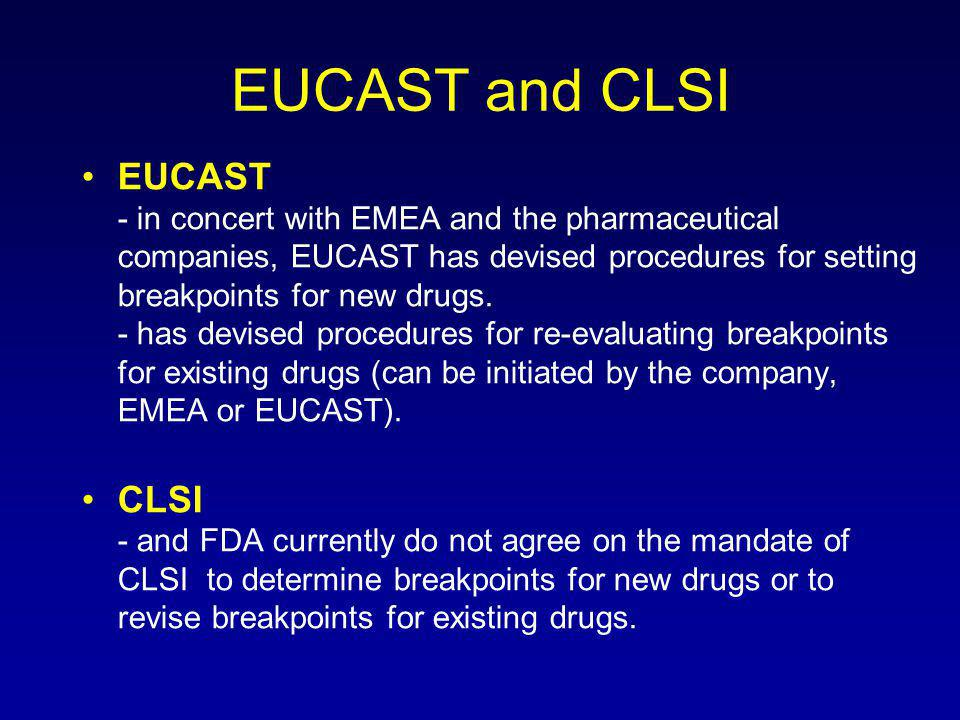 EUCAST and CLSI EUCAST - in concert with EMEA and the pharmaceutical companies, EUCAST has devised procedures for setting breakpoints for new drugs.