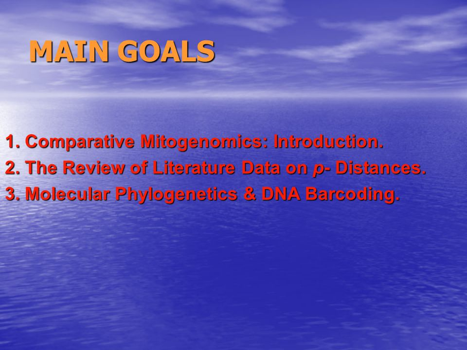 1. Comparative Mitogenomics: Introduction. 2. The Review of Literature Data on p- Distances.