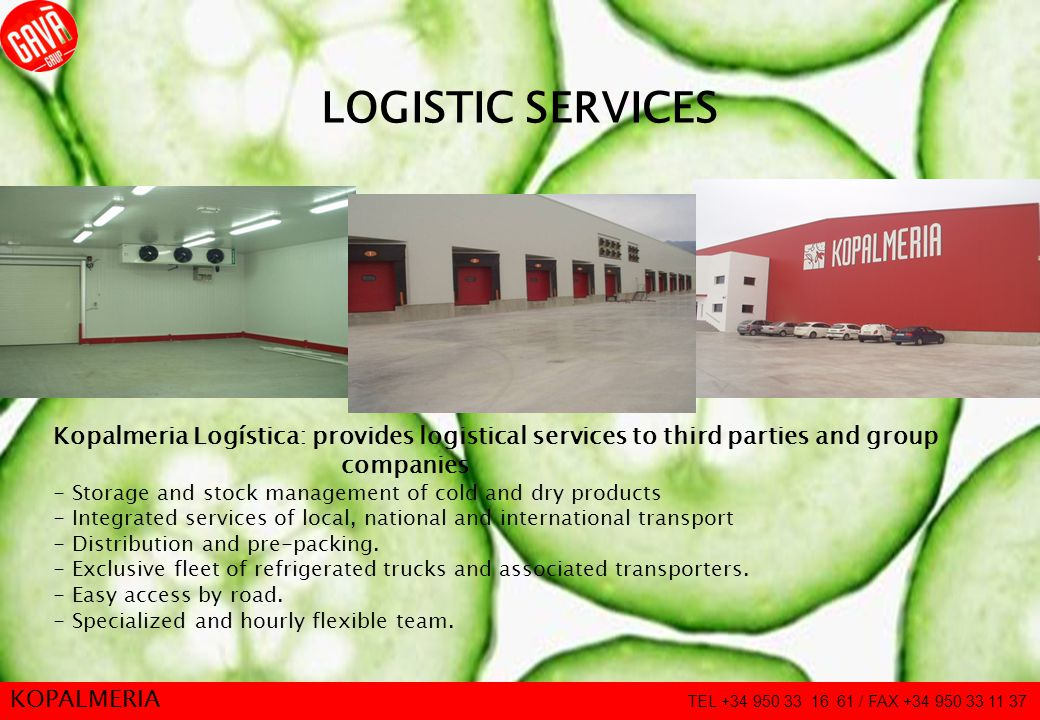 13 LOGISTIC SERVICES Kopalmeria Logística: provides logistical services to third parties and group companies - Storage and stock management of cold an