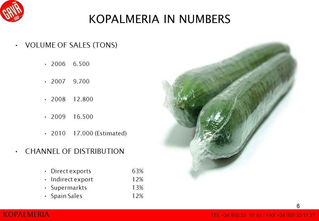 6 KOPALMERIA IN NUMBERS VOLUME OF SALES (TONS) 20066.500 20079.700 2008 12.800 200916.500 201017.000 (Estimated) CHANNEL OF DISTRIBUTION Direct export