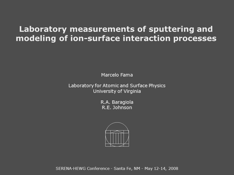 Laboratory measurements of sputtering and modeling of ion-surface interaction processes Marcelo Fama Laboratory for Atomic and Surface Physics Univers
