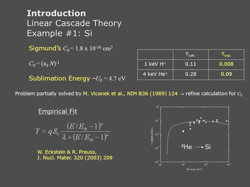 Introduction Linear Cascade Theory Example #1: Si Sigmund's C 0 = 1.8 x 10 -16 cm 2 C 0 = (x 0 N) -1 Sublimation Energy ~ U 0 = 4.7 eV Y calc. Y exp.