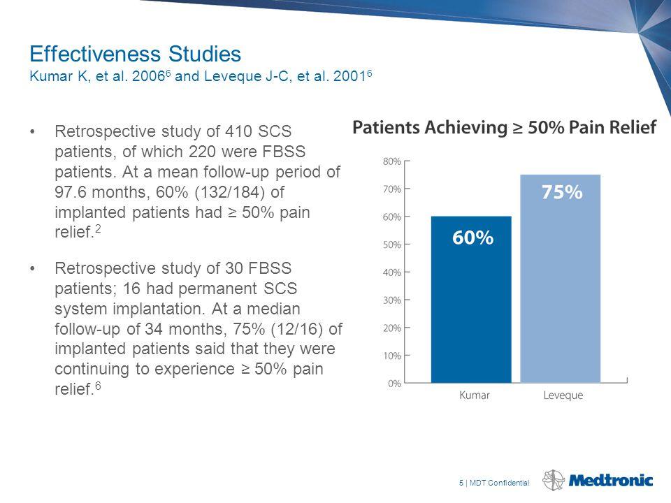 5   MDT Confidential Effectiveness Studies Kumar K, et al. 2006 6 and Leveque J-C, et al. 2001 6 Retrospective study of 410 SCS patients, of which 220
