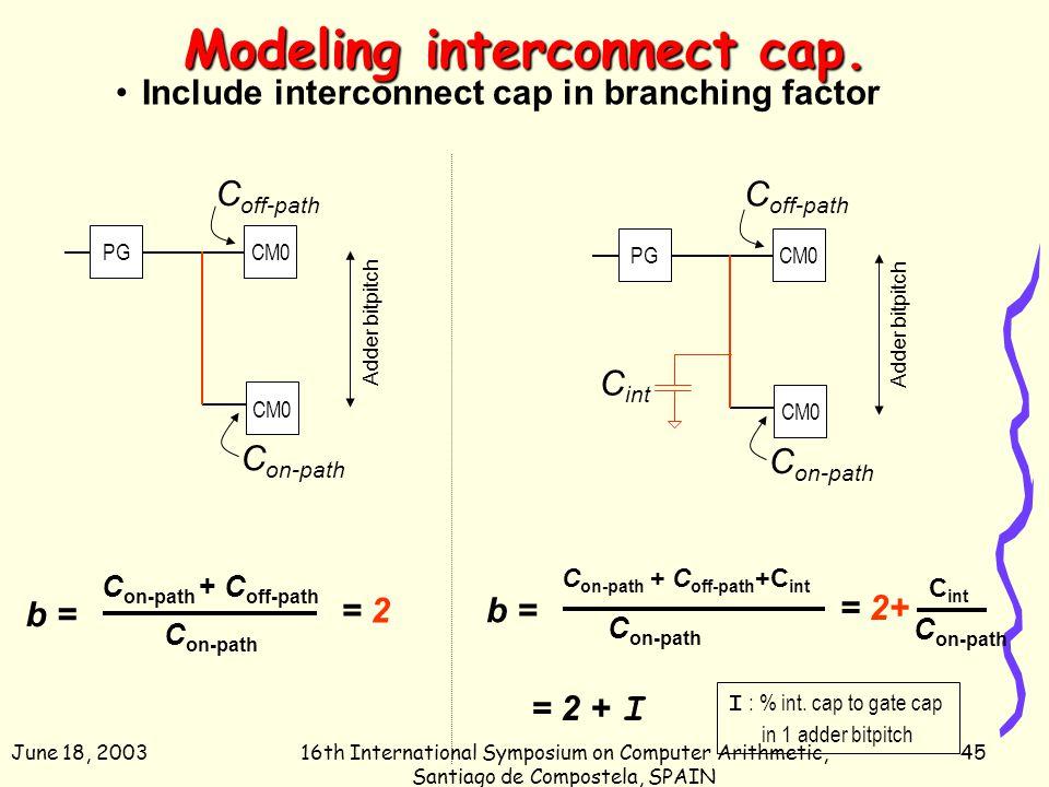 June 18, 200316th International Symposium on Computer Arithmetic, Santiago de Compostela, SPAIN 45 Modeling interconnect cap. Include interconnect cap