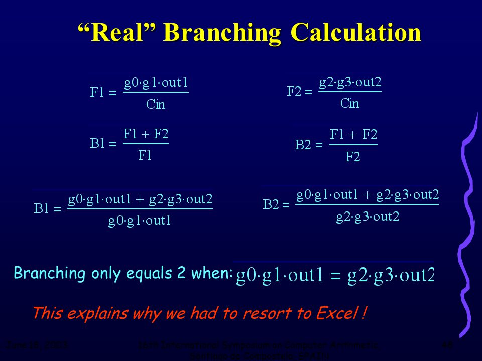 June 18, 200316th International Symposium on Computer Arithmetic, Santiago de Compostela, SPAIN 48 Real Branching Calculation Branching only equals 2 when: This explains why we had to resort to Excel !