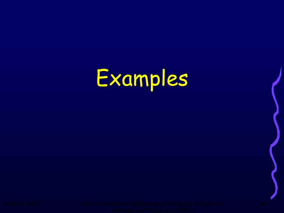 June 18, 200316th International Symposium on Computer Arithmetic, Santiago de Compostela, SPAIN 64 Examples